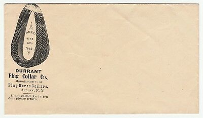 RARE Advertising Cover 1863 Durrant Flag Horse Collar Auburn NY w Graphic