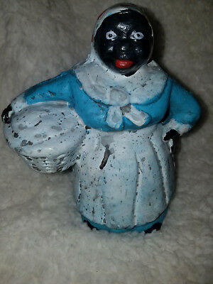 """Black Americana Cast Iron Laundry Girl Mammy Bank-5 inches tall"