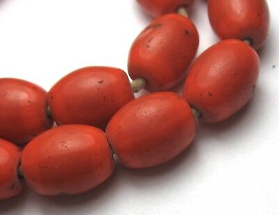 18 Rare Amazing Old Orangish Red Oval Bohemian Antique Beads African Trade
