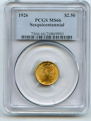 1926 Gold $2 1/2 Sesquicentennial Commemorative PCGS MS 66 Original Full Luster