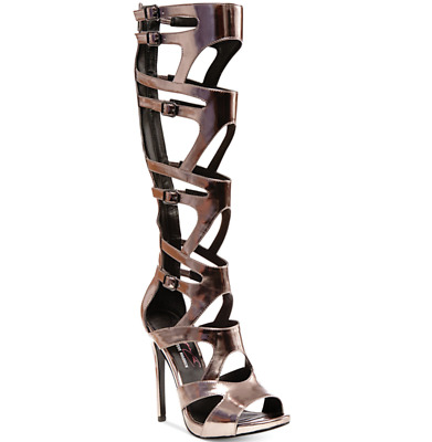 0b1b9642c87 STEVE MADDEN KEYSHIA Cole Maven Women's Gladiator Sandals Metallic ...