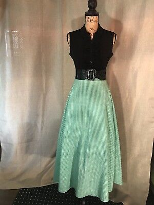 Womens VINTAGE 60s Skirt Retro Pinup Rockabilly Green Gingham Plaid Maxi Size M