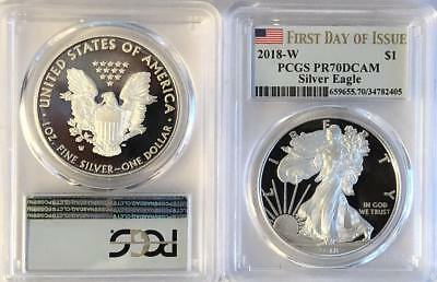 2018 W Silver Proof American Eagle PCGS PR 70 DCAM First Day of Issue FDOI