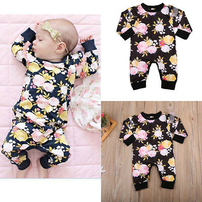 2017 Kids Baby Girls Summer Floral Romper Jumpsuit Bodysuit Clothes Outfits