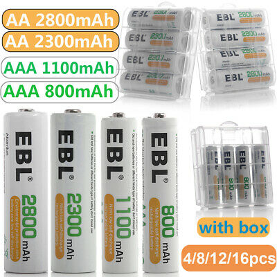 EBL Lot of AA AAA NI-MH Rechargeable Batteries 2800mAh 2300mAh 1100mAh 800mAh