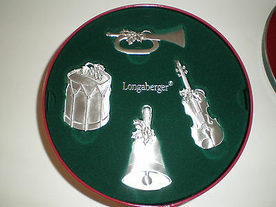 Longaberger 2003 Sounds of the Season Pewter Ornaments in Tin & Gift Box - NIB