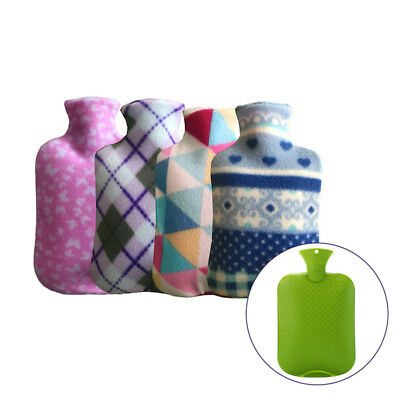 Large Hot Water Bottle Soft Hot Water Bottles W/ 2 Liter Removable Fleece Cover