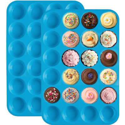 24 Cavity Silicone Muffin CupCake Cookie Chocolate Mould Mold Pan Baking Tray