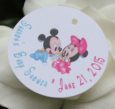 10 Baby Mickey Mouse And Minnie Mouse Baby Shower Favor  Tags - Text Customized