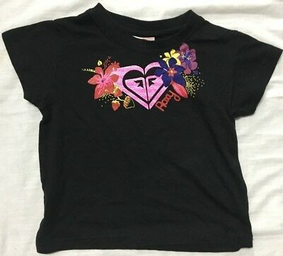 Girls Roxy Sz 2 Shirt Kid's Cotton Tee Blk/Pink/flwrs