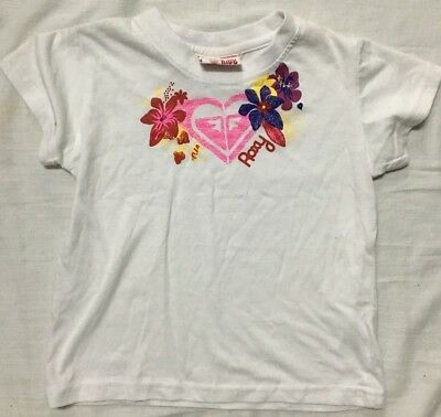 Girls Roxy Sz 2 Shirt Kid's Cotton Tee wht/pnk/flwrs