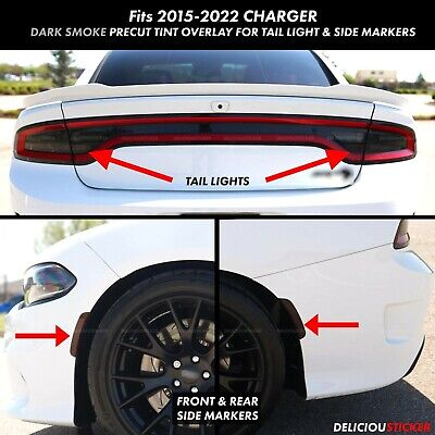 Dodge Charger Tail Lights >> 2015 2019 Charger Rear Tail Light Side Marker Smoke Overlays