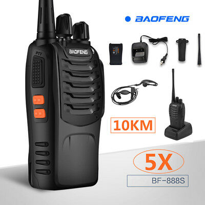 5x Baofeng BF-888s UHF CTCSS/CDCSS LED Torcher Hand-Funkgerät Walkie-Talkie