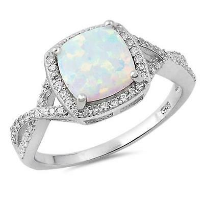 COCKTAIL Genuine 925 STERLING SILVER RING Simulated White Opal  Size 11 12 / W Y