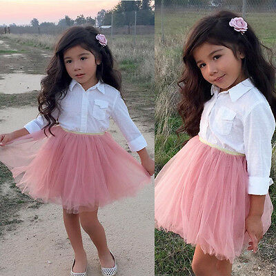 Toddler Kid Baby Girl Clothes Dress T-shirt Shirt Top+Lace Tutu Skirt Outfit Set
