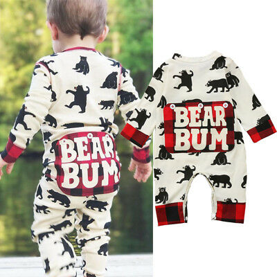 Newborn Kid Baby Boy Girl Bear Clothes Jumpsuit Romper Bodysuit Playsuit Outfits