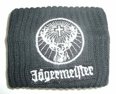 Jagermeister Black Wrist Band Sweat Band Stag Logo Jager Black & White Athletic