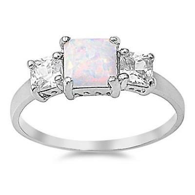 COCKTAIL Genuine STERLING SILVER RING Lab White Opal ~ Size 7 8 9 10 / O Q S U