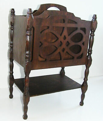 Large Antique Vtg Wood Mahogany Fretwork Magazine Book Record Rack Table Stand