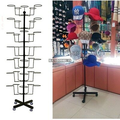7 Tier Retail Hat Rack Cap Display Fixture Rotating Spinner Floor Stand Rack