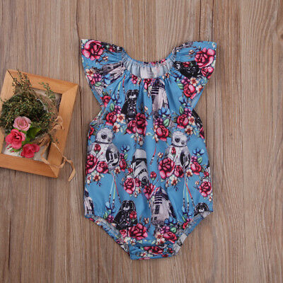 Newborn Baby Girls Star Wars Flower Romper Bodysuit Jumpsuit Outfits Clothes