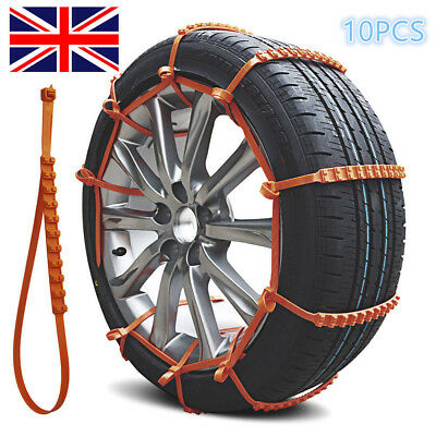 10x Car Anti-skid Snow Tyre Tire Chains Beef Tendon Wheel Nylon Chain Belt RLTS