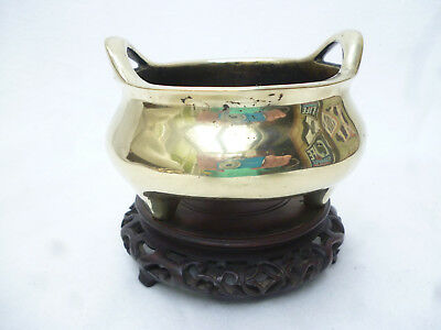 ANTIQUE CHINESE INCENSE BURNER - POLISHED CAST BRASS on CARVED WOOD STAND