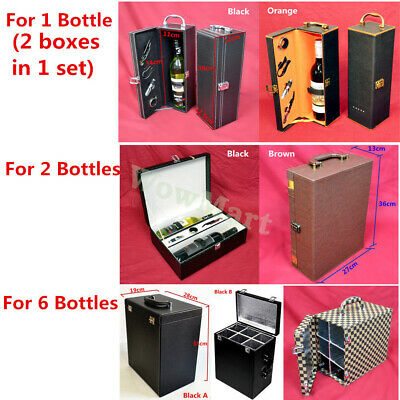 New PU Leather Insulated Bottle Wine Storage Container Gift Box Carry Case