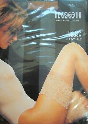 WOLFORD-Selbsthalter-Strümpfe, SATIN TOUCH - STAY UP, Farbe gobi, 20 DEN, Gr. S