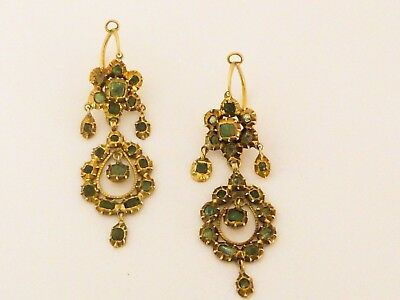 Iberian Spanish 17th-18th century natural emeralds 14k solid gold earrings