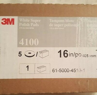 3M White Super Polish Pads 4100 (5) 16 in/po 405 mm