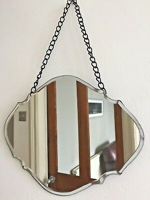 Small Vintage Style Frameless Mirror Bevelled Curved Scalloped Chain NEW 24x18cm