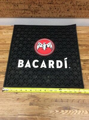 "Bacardi Rum Rubber Spill Mat Large 17"" X 17 Good Used Condition From Coachella!"