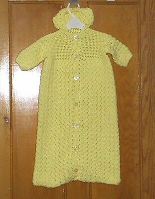 Vintage Style Hand Crocheted Baby Sleeping Bag in Lemon Yellow - Age 3 mths+