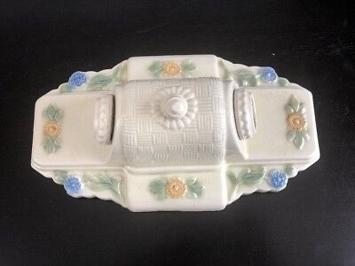 Vintage Porcelain Bathroom Bedroom Floral 2 Bulb Light Fixture Wall Sconce ORG