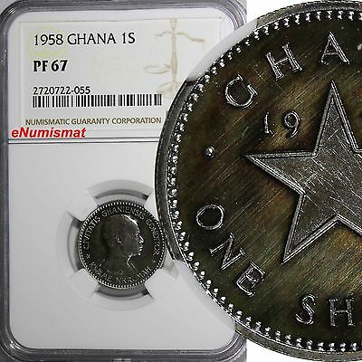 GHANA Copper-Nickel PROOF 1958 1 Shilling NGC PF67 Mintage-20,000 TOP GRADED KM5