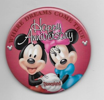 Disney Mickey & Minnie Happy Anniversary Dreams Come True Dlr Button Pin New