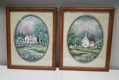 Signed Pair Of Vintage Artist F. Burkley Paintings Church /House Beautiful