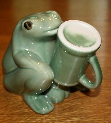 FROG FIGURINE WITH SHOT GLASS CUP COVERING LARGE  penis CERAMIC NAUGHTY
