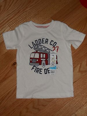 NWT - Jumping Beans short sleeved white & red firetruck shirt -  12 mos boys