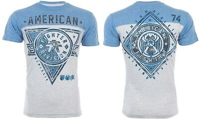 AMERICAN FIGHTER Mens T-Shirt SIENA HEIGHTS Athletic GREY BLUE Gym UFC $40 NWT