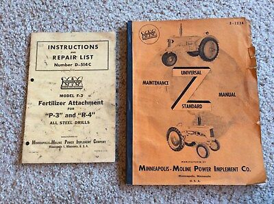 1950s Minneapolis-Moline standard universal tractor maintenance manual