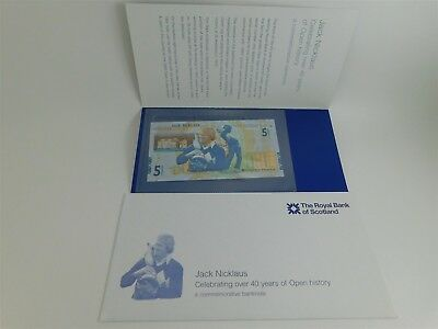 Jack Nicklaus £5 Pound Note Golf W/ Envelope Royal Bank Scotland Unc DR0002