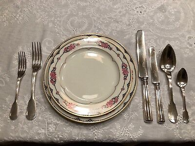 Gorgeous Antique French Christofle CHINON Silverplate Flatware Set For 6