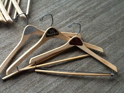 Lot of 8 /  VINTAGE Locking WOOD HANGERS / RAYMOND LEVINE  - Only 50 cents each!