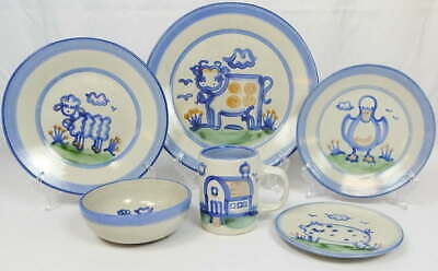 (1) 6 Pc. Place Setting MA Hadley Pottery Dinnerware Blue Country Scene Barn Cow