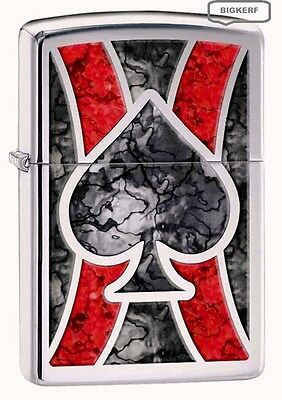 Ace Of Spades Poker  Zippo  Lighter    High Polished Chrome - New In Box