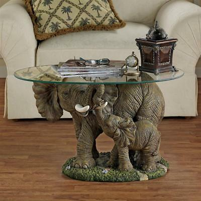 Unique Furniture Round Glass Top Side Table African Elephant Tusk Animal Decor
