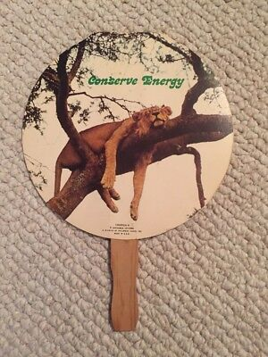 Vintage Advertising Hand Fan - Conserve Energy - A Division of Hallmark