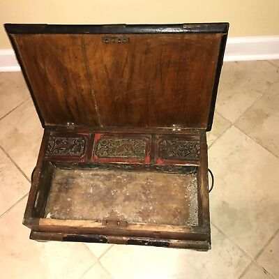 Antique Asian / Oriental Hand Carved Wood U0026 Copper Storage Box / Trunk